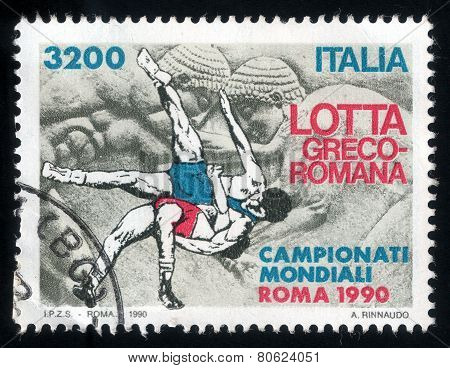 Greco-roman Wrestling. Italian Post Stamp 1990