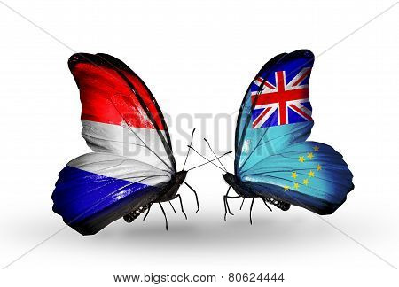 Two Butterflies With Flags On Wings As Symbol Of Relations Holland And Tuvalu