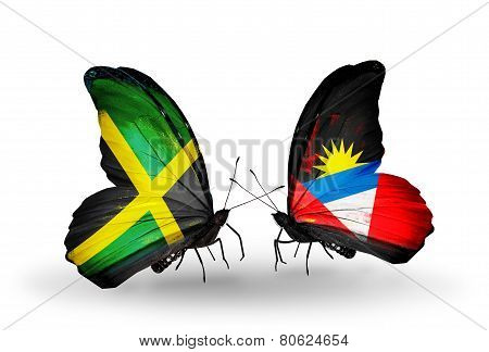 Two Butterflies With Flags On Wings As Symbol Of Relations Jamaica And  Antigua And Barbuda