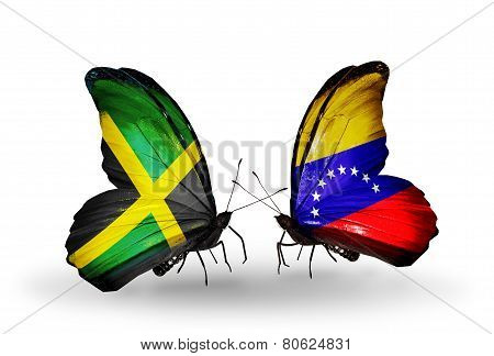 Two Butterflies With Flags On Wings As Symbol Of Relations Jamaica And  Venezuela