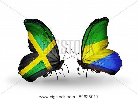 Two Butterflies With Flags On Wings As Symbol Of Relations Jamaica And Gabon