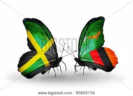 Two Butterflies With Flags On Wings As Symbol Of Relations Jamaica And Zambia