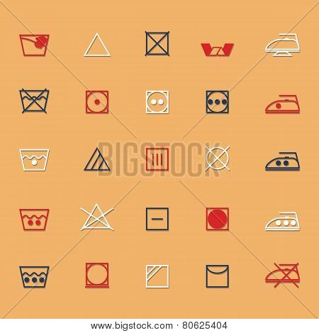 Fabric Care Sign And Symbol Icons With Shadow