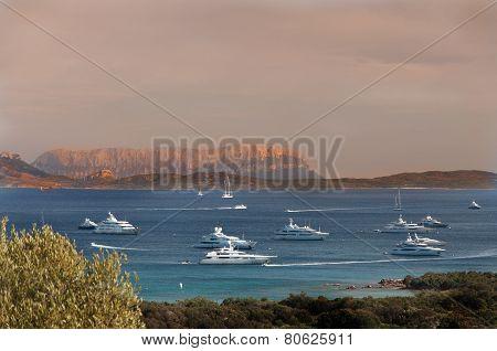 Landscape Bay of LISCIA RUJA SARDINIA IN SUNSET