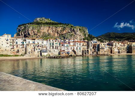 Amazing Harbor View Of Small Town Cefalu