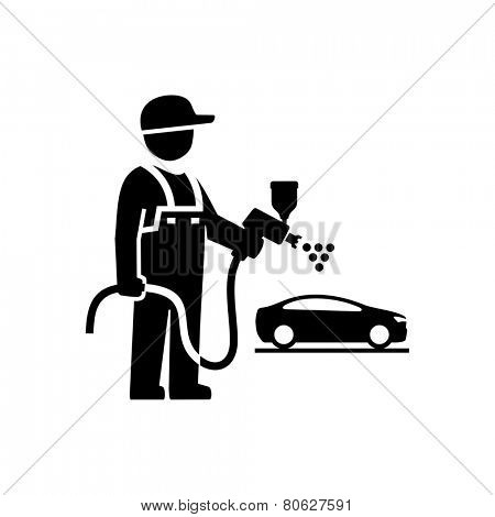Car Painter Mechanic Figure Pictogram Icon