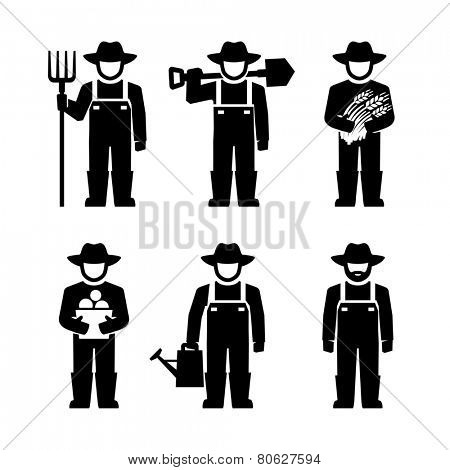 Farmer Figure Pictogram Icons
