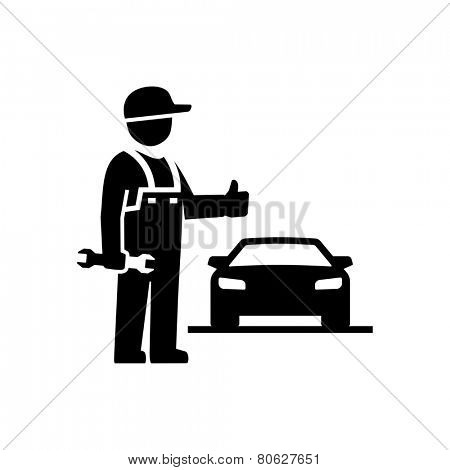 Car Mechanic showing thumb up Figure Pictogram Icon