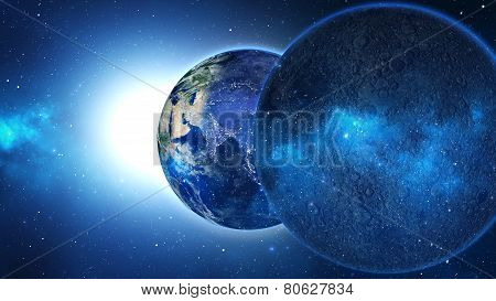 Planet Earth with sun in universe or space, Earth and galaxy in a nebula cloud