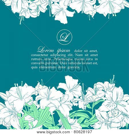 Card template with white lilies, place for text in the middle, horizontal.