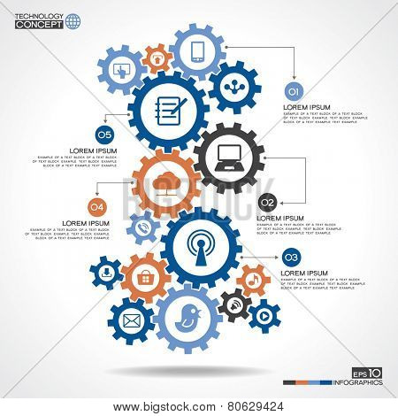 Abstract background with a set of gears, interface icons, text. Internet concept, communication, networking, social media and global concepts.  Modern infographics template