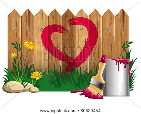 Red heart shape, painted on a wooden fence , bucket of paint and brush. Vector illustration. Isolated on white background.