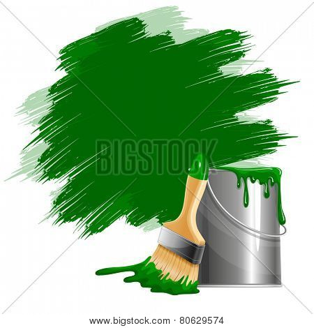 Vector background of thick green paint smears, bucket of paint and brush. Isolated on white.