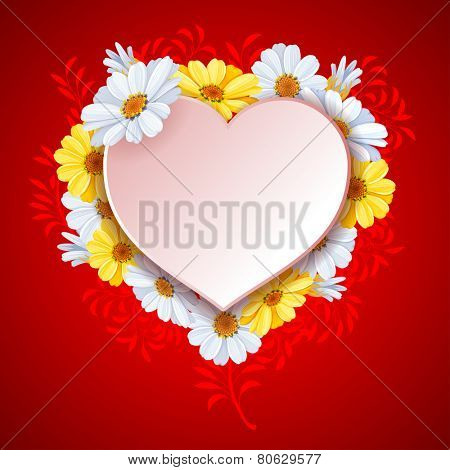 Beautiful vector background on Valentine's Day with luxury flowers daisy and white paper heart shape.