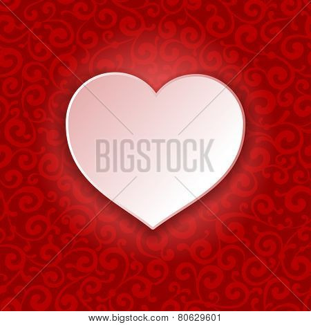 Beautiful vector background on Valentine's Day with luxury ornaments and white paper heart shape.
