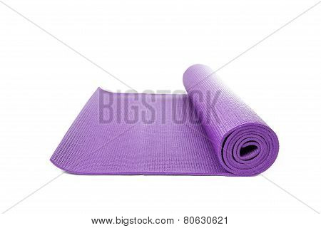 Close Up Purple Yoga Mat For Exercise Isolated