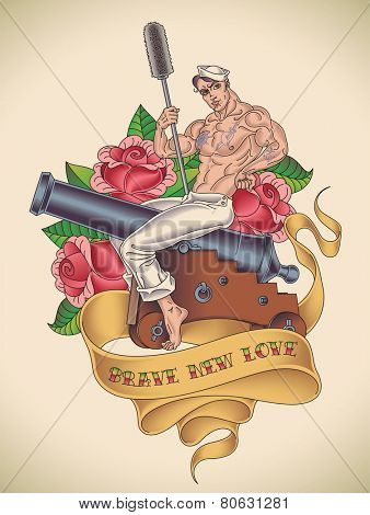 Old-school tattoo of a handsome sailor is straddling on a cannon with a ramrod in his hand on the background of red roses. Raster image.