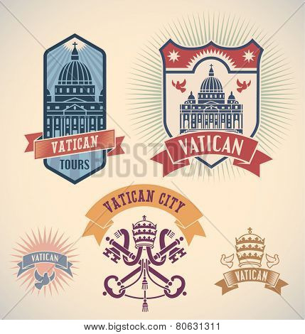 Set of retro-styled Vatican city tour labels. Raster image.