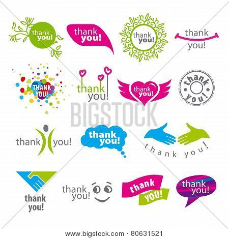 Big Set Of Vector Icons Thank You