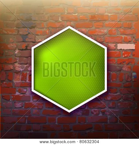 Brick Wall With Green Label For Your Text