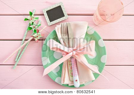 Colorful Plate On Rustic Pink Background