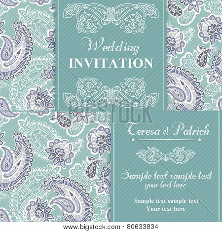 Wedding invitation in blue style