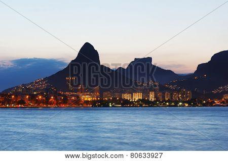 Sunset Lagoon Rodrigo de Freitas (Lagoa) mountain Two brothers Stone of Gavea Rio de Janeiro