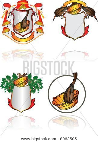 A set heraldic symbols on subjects of cleanliness, health and Russian bath