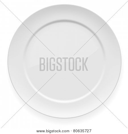 Blank white dinner plate isolated on white background.