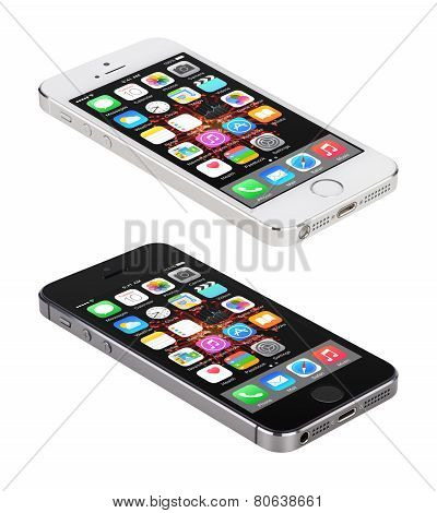 Apple Space Gray And Silver Iphone 5S Displaying Ios 8, Designed By Apple Inc