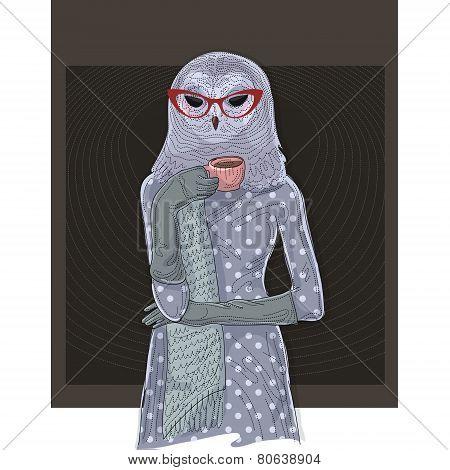 Owl Woman Drinking Coffee