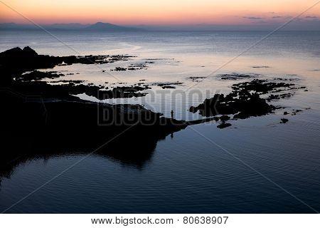 Sunset over the Basque coast near Biarritz