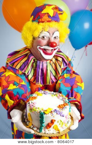 Happy Birthday Clown With Cake