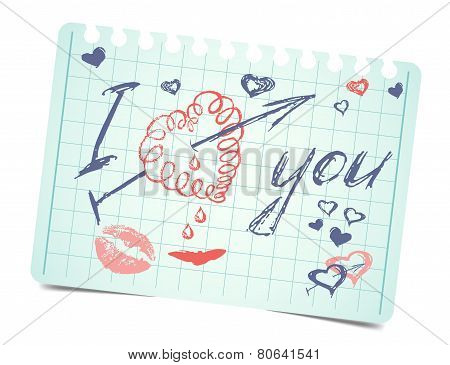 note with text and hearts I love you. Vector valentines card
