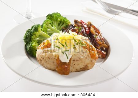 Baked Potato With Steak And Broccoli