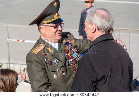 Russian Veteran At The Parade On Annual Victory Day