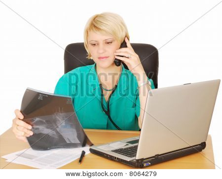 female doctor with phone