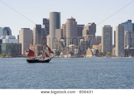 Clipper Ship in Boston Harbor