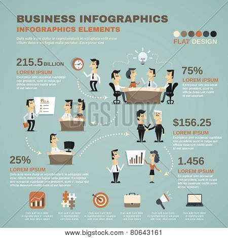Office work infographics presentation poster