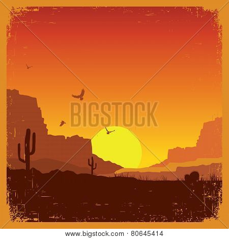 Wild West American Desert Landscape On Old Texture