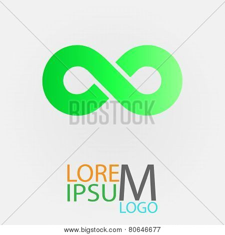 Limitless green symbol icon or logo. Infinity
