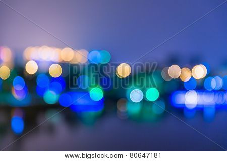 Blurred city lights and office buildings, shanghai china.