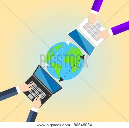 Concept Data sharing between businessman