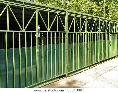 Metal Construction Of Garages For Cars In Residential Area