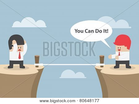 Businessman Motivate His Friend To Cross The Cliff By Saying