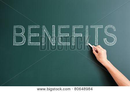 benefits written on blackboard