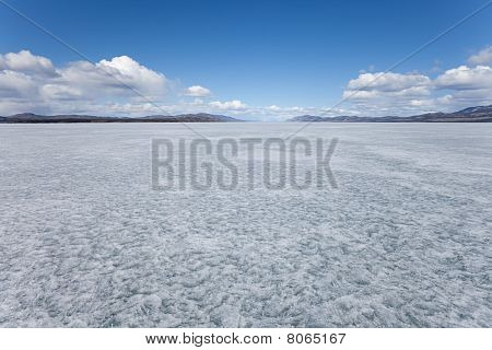 Frozen Lake Laberge, Yukon T., Canada