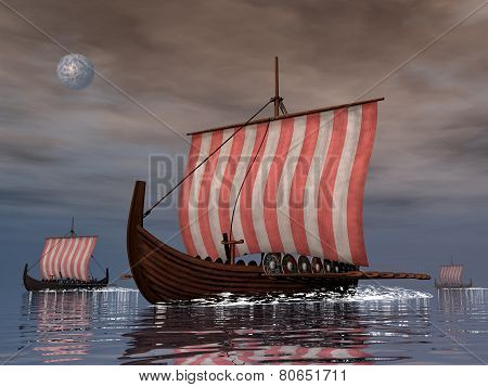 Drakkars or viking ships - 3D render