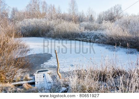 A small frozen pond.