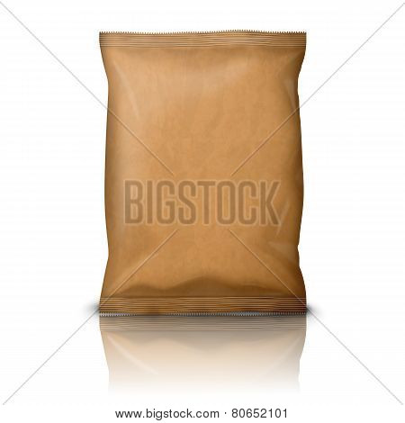 Blank realistic craft paper snack pack isolated on white